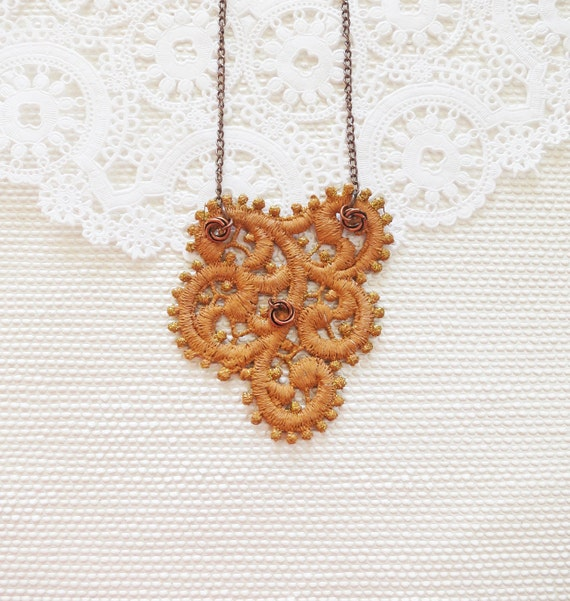 Matte Golden Lace Jewelry - Rustic Copper  Scallop Lace Necklace - Glitter Mustard Caramel Brush Touches