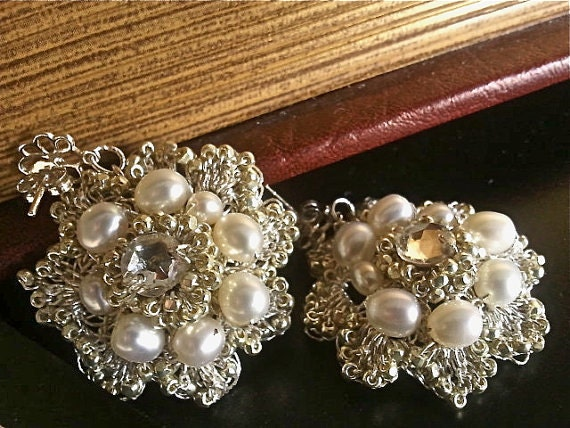 Pearl & Rhinestone Bridal Earrings, Vintage Inspired Wedding Bridal Jewelry, Crystal Flower Dangle Stud Earrings, Silver, Bridal Jewelry