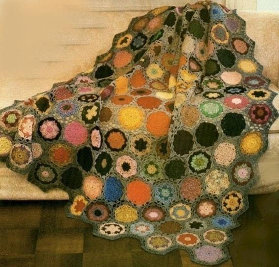 BOHO Crochet Pattern-- Colorful Flower Garden--Granny Afghan --PDF Email Delivery