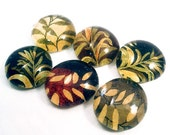 Botanical. Six Handmade Glass Cabochons Decoupaged with recycled papers for your projects