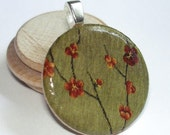Embroidery Flowers  -  A Round Wood Tile Art Pendant on SALE