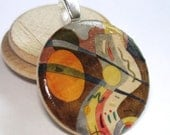 Festival Abstract -  A Round Wood Tile Art Pendant on SALE