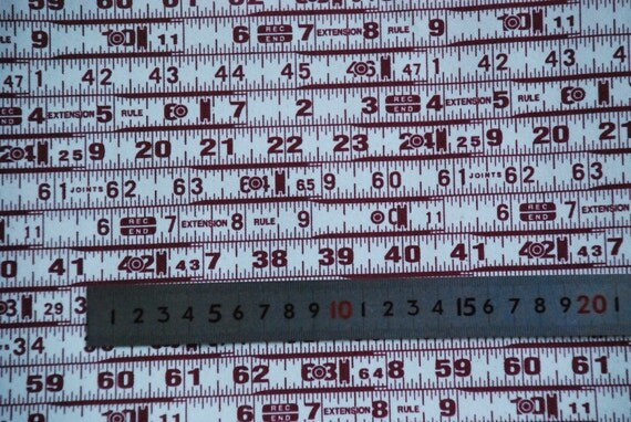 Measuring Tape Canvas (Maroon) - Japanese Fabric
