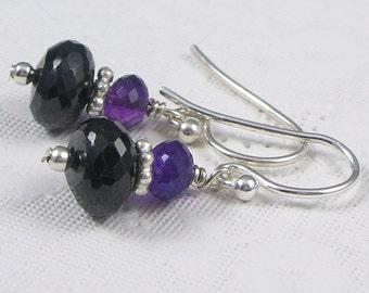Black Garnet and Amethyst Sterling Earrings