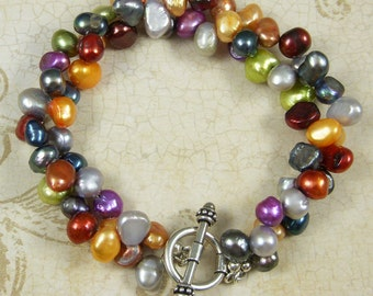 Rainbow Freshwater Pearl Double Strand Bracelet
