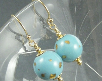Turquoise and Gold Vintage Glass Earrings
