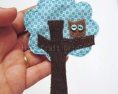 Tree with Owl Magnet, Tree Magnet, Fabric Owl Magnet, Fabric Tree Magnet, Magnet, Scrap Fabric Magnet, Fabric Tree Accessory