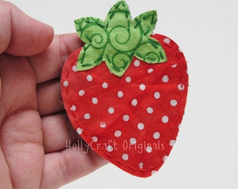Strawberry Applique, Strawberry Scrapbooking Embellishment, Strawberry Made to Order, Patch