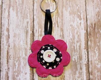 Flower Keychain, Flower Key Ring, Fabric Keychain, Scrap Fabric Flower Accessory, Flower Accessory