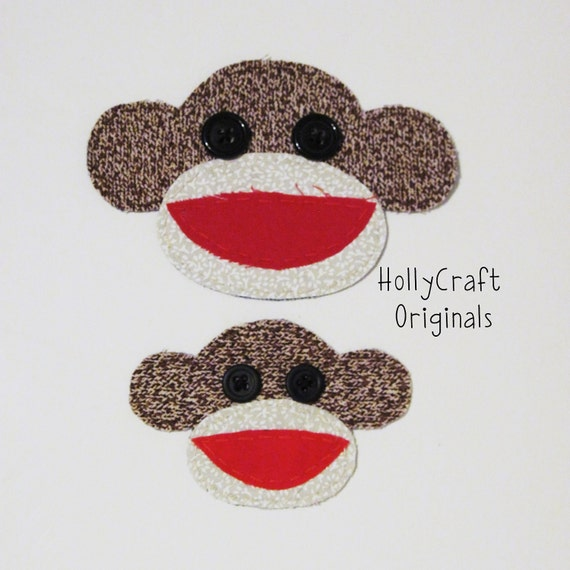 Sock Monkey Applique, Sock Monkey Embellishment, Scrapbook Sock Monkey, Sock Monkey, Fabric Sock Monkey  -Made to OrderMade to Order