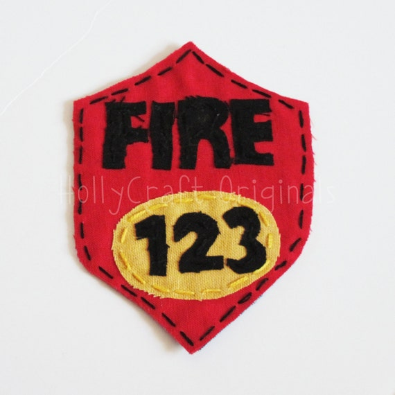 CLEARANCE Firefighter Badge Applique, Firefighter Scrapbooking Embellishment, Fabric Fire Badge, Fire badge, Firefighter Badge