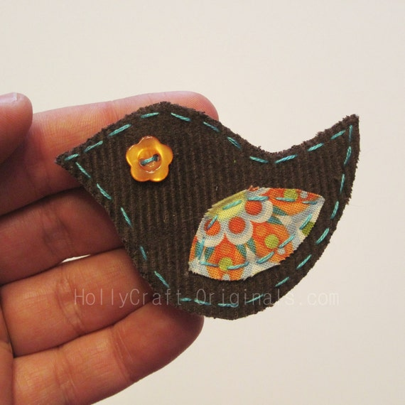 Bird Applique, Bird Scrapbooking Embellishment, Fabric Bird, Bird Embellishment, Scrap Fabric Bird, Scrapbook Bird
