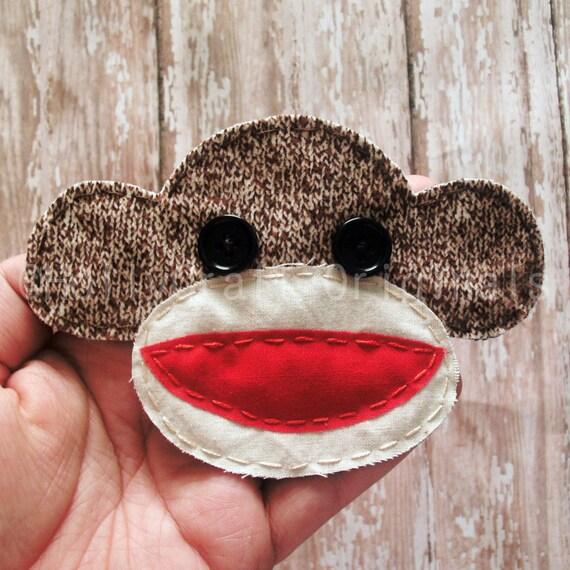 Sock Monkey Applique, Sock Monkey Embellishment, Scrapbook Sock Monkey, Sock Monkey, Fabric Sock Monkey  -Made to Order