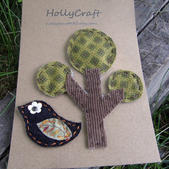 Handmade Funky Fabric Shapes (Tree and Bird) Scrapbooking Embellishments