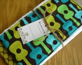 Fabulous set of 2 burp cloths for hip baby and mama with TAG in Blue Guitar