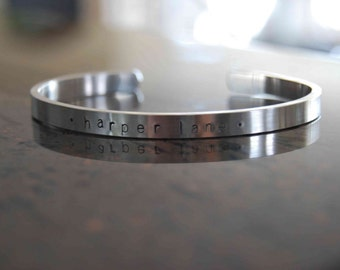 Personalized Skinny Cuff with Lower Case Letters