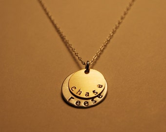 Two-Disk Necklace - Gold/Silver Layered