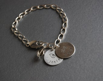 "Inspiration Charm bracelet w/ names (3/4"" disks)"