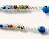 Silver Earrings Braid with Evil Eye Beads