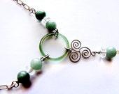 Gemstone Necklace - Green Agate, Quartz, Silver Spirals
