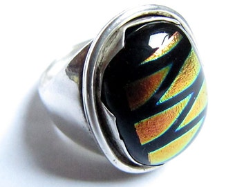 Unique Dichroic Glass Ring Hand Cut Bezel Sterling Silver