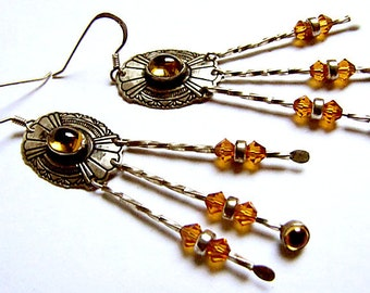 Silver Chandelier Earrings with Golden Sapphires