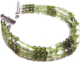 Peridot, Crystal and Recycled Silver 3 Strand Bracelet