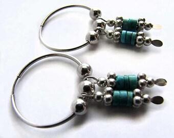 Hoop Earrings Sterling Silver with Turquoise Dangles