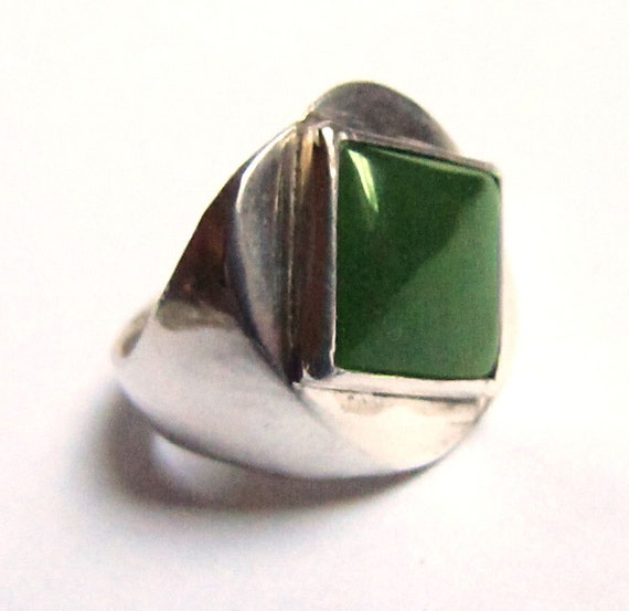 Jade Ring for a Man - Sterling Silver - Size 10