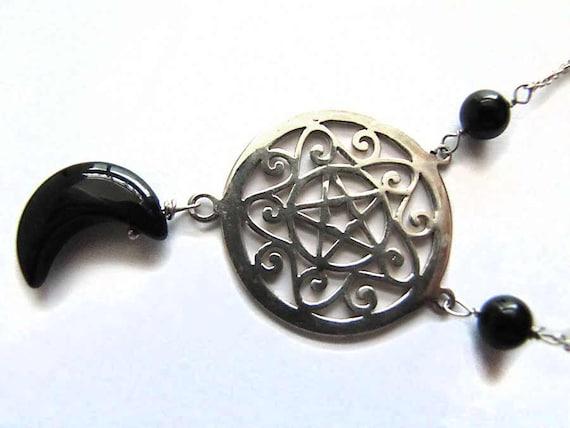 Pentagram Necklace Sterling Silver Black Onyx Moon