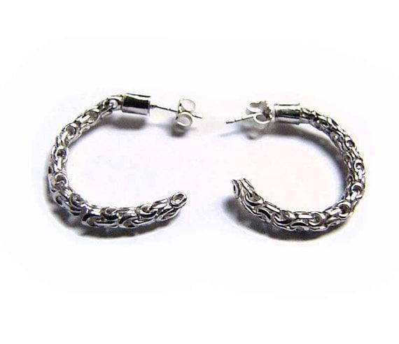 Sterling Silver Earrings - Madiera Stud Hoops