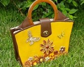 Caramel Delight Upcycled Vintage Handbag One-of-a-Kind Mixed Media Purse