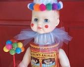 Circus Clown Art Doll Assemblage Doll Barnumand Bailleys Art Sculpture One-of-a-Kind Altered Tins