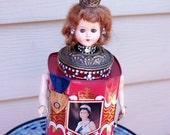 Queen Elizabeth II Art Doll Sculpture One-of-a-kind Assemblage
