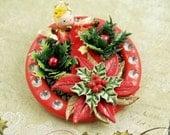 Retro Angel Christmas Brooch Christmas Miniatures Holiday Wearable Art  Broach