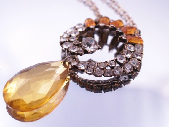 RESERVED Vintage Assemblage Necklace Yellow Citrine Color Endless Circle Pendant Formal Party