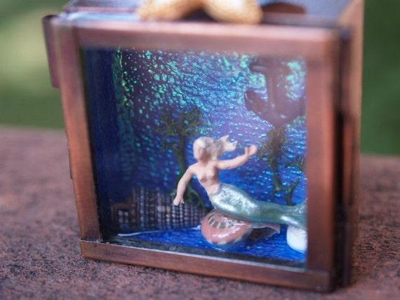 Miniature Mermaid Shadow Box Hooked Diorama Ocean Seashells