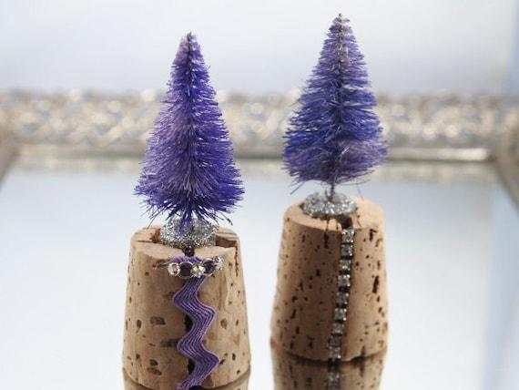 Wine Country Christmas Bottle Brush Tree Cork Purple Decorations Set