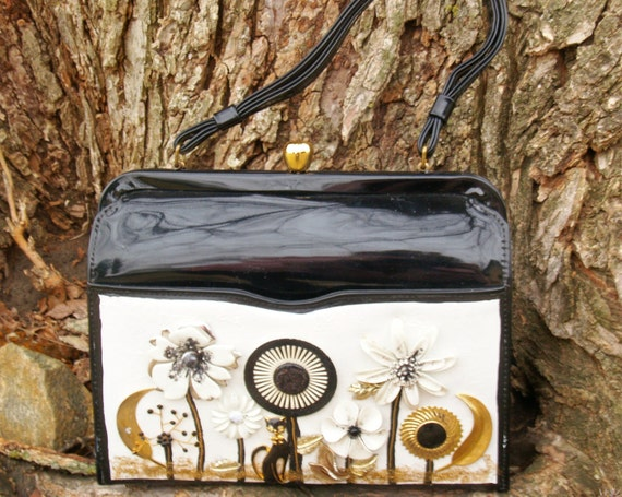 Black & White Handbag Upcycled Vintage Patent Purse Mixed Media Hand Painted