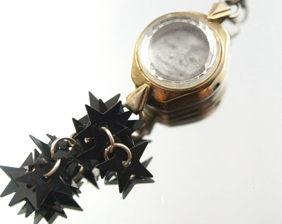 Sun & Moon Vintage  Watch Necklace One-of-a-Kind Assmeblage Pendant