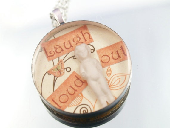 Frozen Charlotte Necklace Laugh Out Loud Cast Resin One-of-a-Kind Collage Pendant