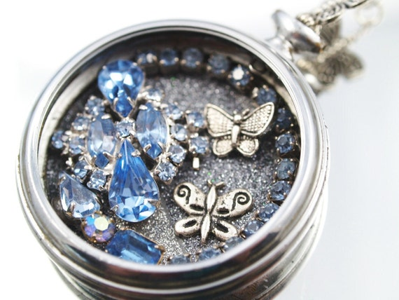 Butterfly Garden Pocket Watch Necklace Vintage Rhinestones  Assemblage Pendant
