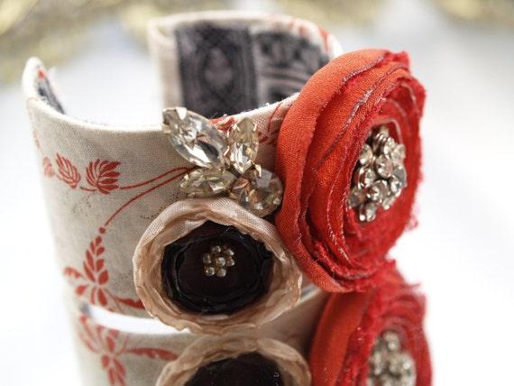 Shabby Fabric Cuff Rhinestone Bracelet French Inspired Red Burgundy Cream Bridal Wedding Cuff