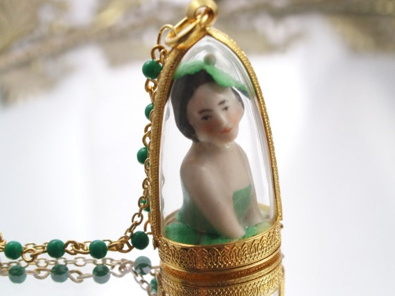 Ireland Doll Dome Necklace Antique German Doll  One-of-a-Kind Assemblage Pendant