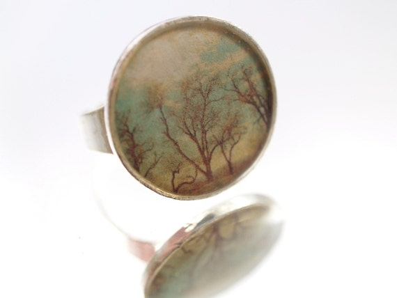 Solitude Tree Ring Mixed Media Hand Cast Resin