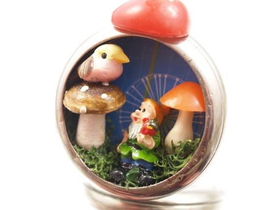 Gnome Mushroom Necklace Pocket Watch Assemblage Miniature Woodland Pendant