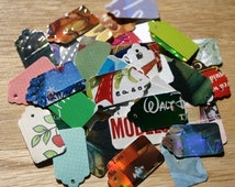 1000 Recycled Hand Punched Mini Jewelry Gift Tags Choose Back Color Upcycled Consumer Product Packaging Cardboard Thick Stock Colorful White