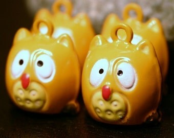 4 Metal Wise Owl Bell Charms Yellow Tan Painted Brass Woodland Woodsy Pooh Nocturnal Animal Bird Jingle Bell