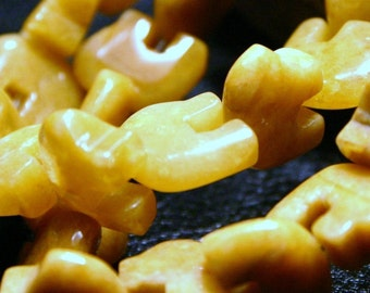 10 Pcs. Yellow Jade Zuni Style Bear Fetish Beads Small Bright Butter Mustard Sunshine Yellow Sunflower Southwestern Totem Animal Sun Sunny