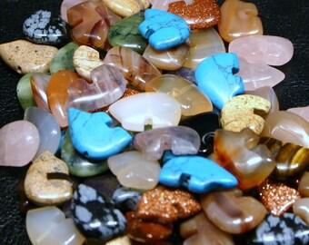 200 Mixed Gemstone Zuni Style Bear Fetish Beads Large Size Southwestern Turquoise, Goldstone, Jasper, Quartz, Carnelian, Onyx